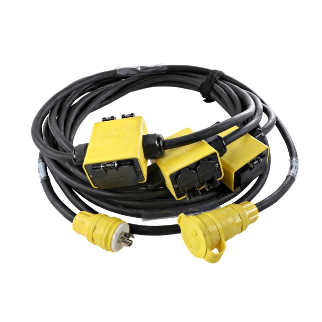 20A (3) Phase GFCI Quad Stringer - Yellow