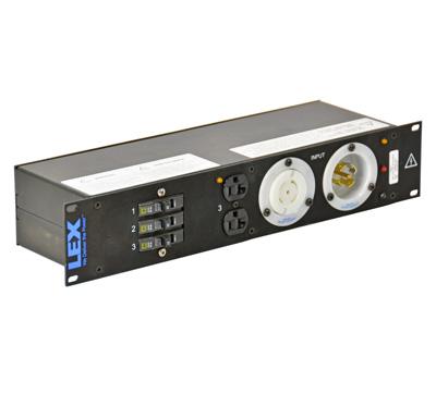 30 Amp 2RU Enclosed Rack, L21-30 to Duplex Receptacles